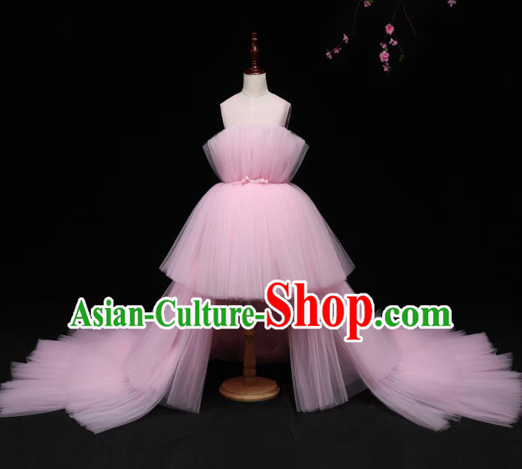 Children Modern Dance Costume Compere Full Dress Stage Piano Performance Pink Veil Trailing Dress for Kids