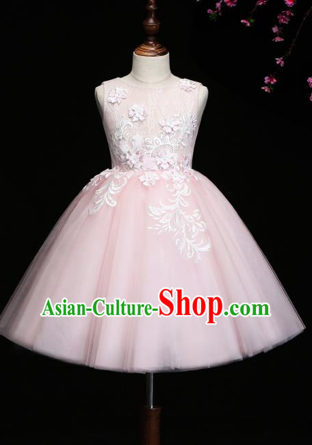 Children Modern Dance Costume Compere Pink Bubble Full Dress Stage Piano Performance Dress for Kids