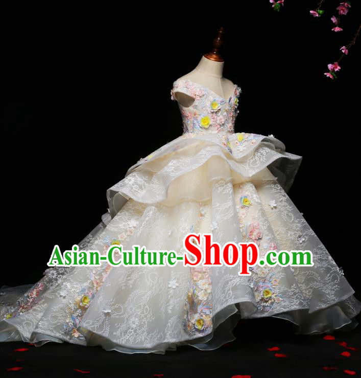 Children Modern Dance Costume Compere Trailing Full Dress Stage Piano Performance Princess Dress for Kids