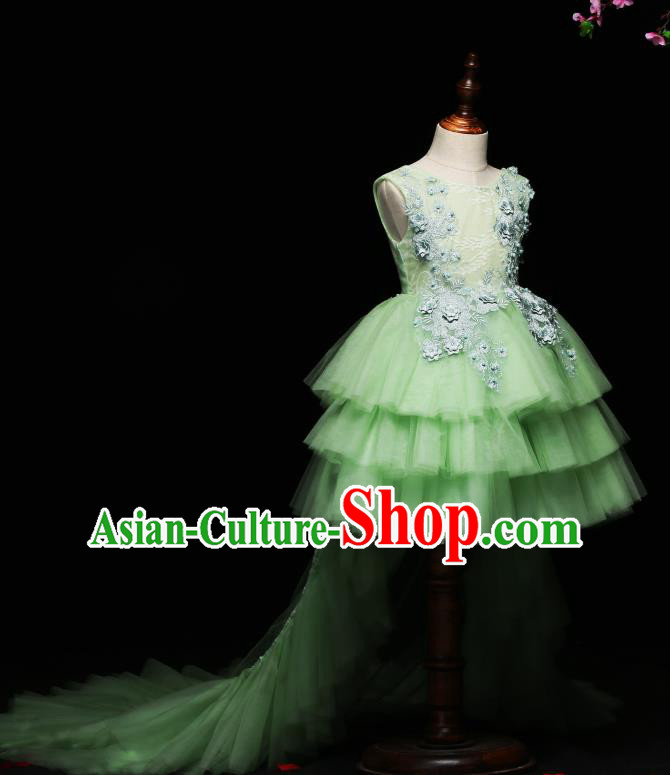 Children Modern Dance Costume Compere Trailing Full Dress Stage Piano Performance Green Veil Dress for Kids
