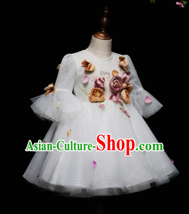 Children Modern Dance Costume Compere White Full Dress Stage Piano Performance Princess Dress for Kids