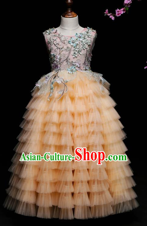 Children Modern Dance Costume Compere Yellow Veil Full Dress Stage Piano Performance Princess Dress for Kids