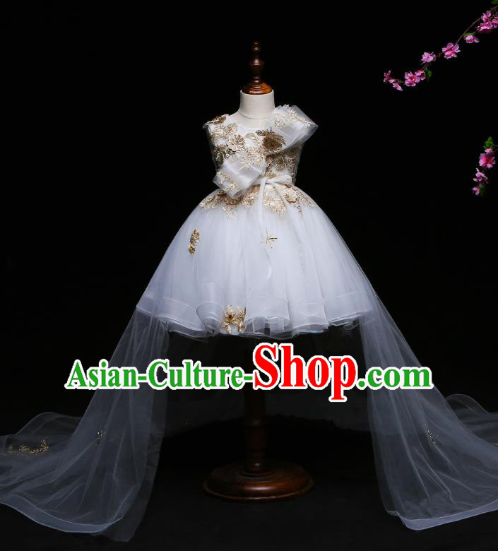 Children Modern Dance Costume Compere White Veil Trailing Full Dress Stage Piano Performance Princess Dress for Kids