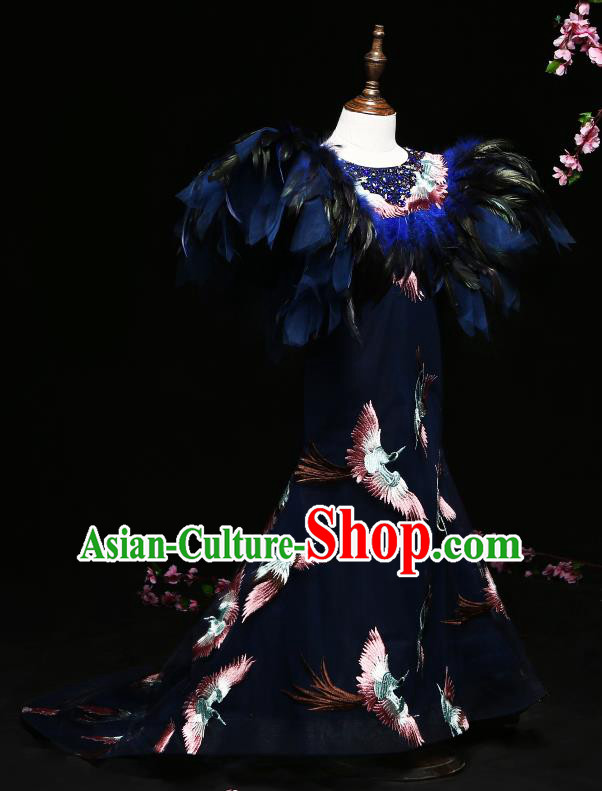 Children Modern Dance Costume Compere Feather Trailing Full Dress Stage Piano Performance Princess Dress for Kids