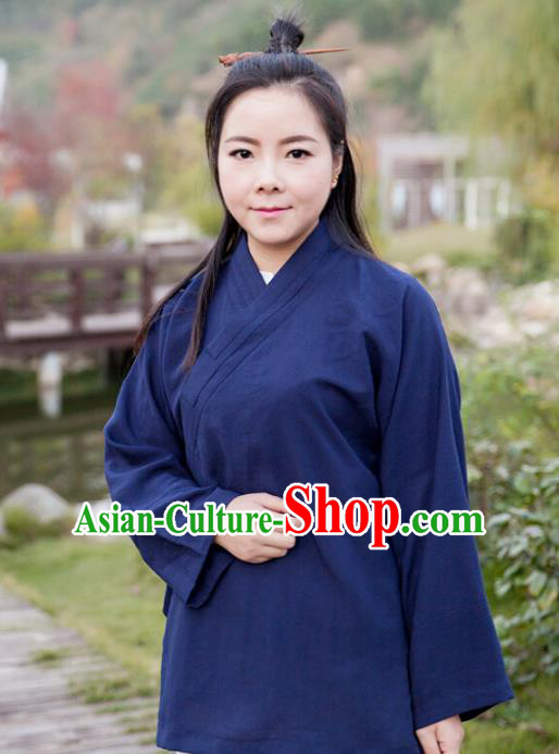 Chinese Traditional Martial Arts Taoist Nun Costumes Tai Chi Kung Fu Navy Blouse for Women