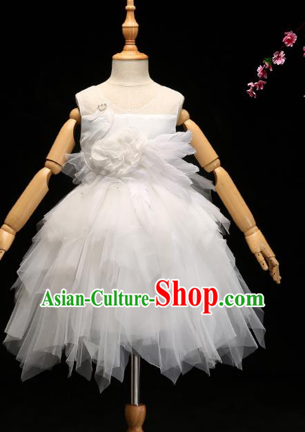 Children Modern Dance Costume Compere White Veil Bubble Full Dress Stage Piano Performance Princess Dress for Kids