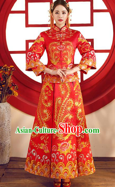 Top Grade Chinese Traditional Wedding Costumes Embroidered Phoenix Red Xiuhe Suits Bride Dress for Women