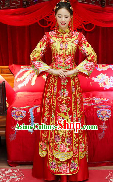 Top Grade Chinese Traditional Wedding Costumes Bride Embroidered Trailing Xiuhe Suits for Women