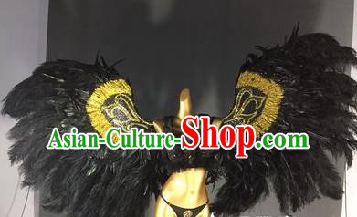 Top Grade Stage Performance Brazilian Rio Carnival Black Feather Wings Miami Feathers Deluxe Wings for Women