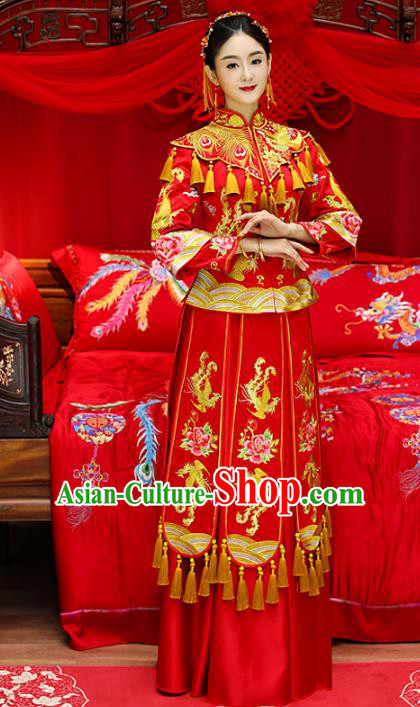 Top Grade Chinese Traditional Wedding Costumes Longfeng Flown Bride Embroidered Peony Xiuhe Suits for Women
