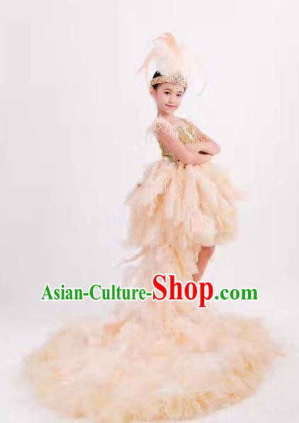 Children Models Show Costume Stage Performance Modern Dance Catwalks White Feather Trailing Dress for Kids