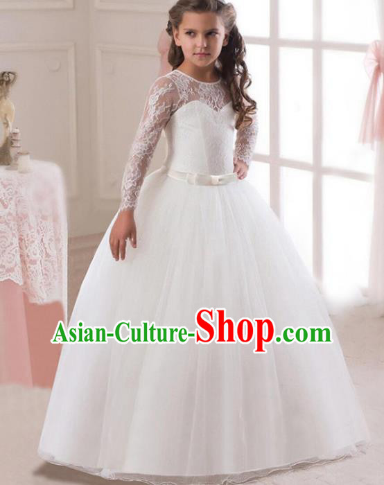 Children Models Show Costume Stage Performance Modern Dance Compere White Lace Veil Dress for Kids