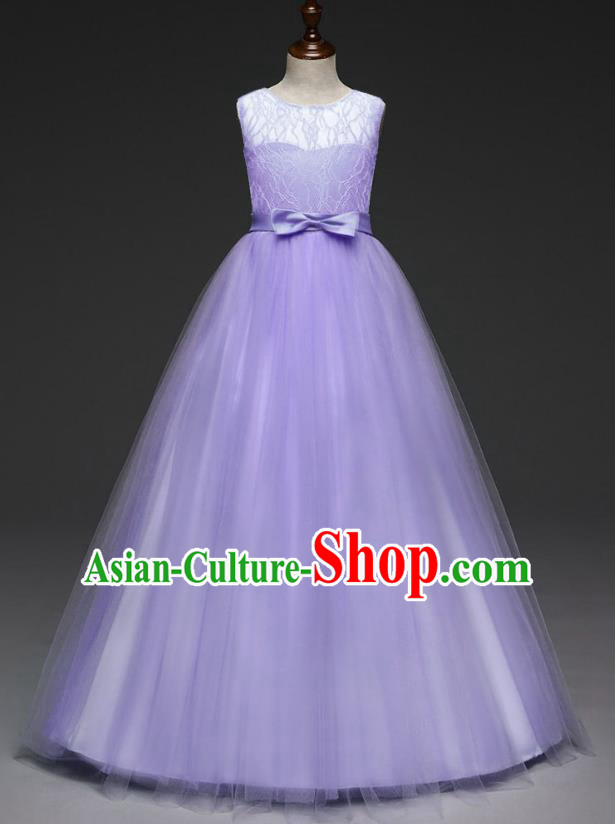 Children Models Show Costume Stage Performance Catwalks Compere Purple Veil Dress for Kids