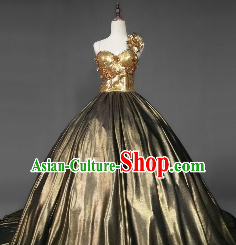 Top Grade Models Show Costume Stage Performance European Court Dowager Full Dress for Women