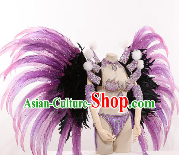 Top Grade Stage Performance Clothing Models Show Brazilian Rio Carnival Samba Purple Costume and Feather Wing for Women