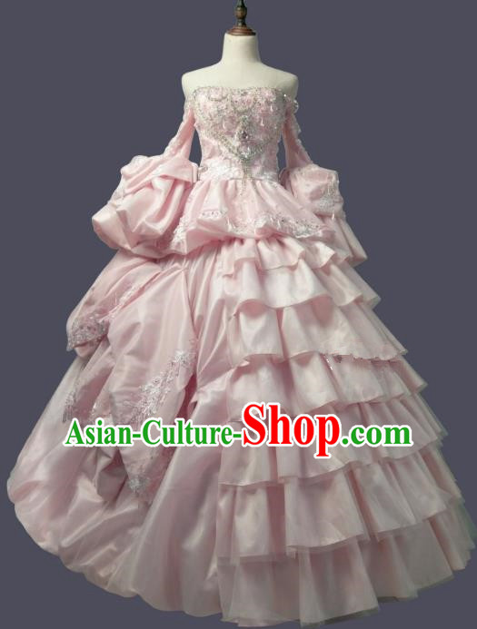 Top Grade Models Show Costume Stage Performance Catwalks European Court Pink Full Dress for Women
