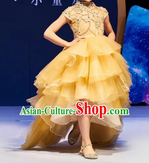 Children Models Show Costume Stage Performance Catwalks Compere Yellow Veil Mullet Dress for Kids