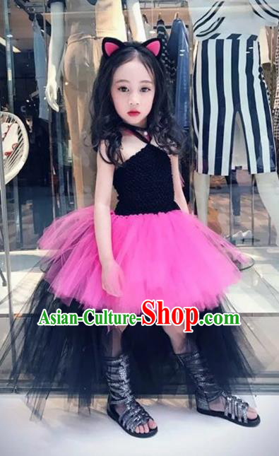 Children Models Show Costume Stage Performance Catwalks Compere Rosy Veil Bubble Dress for Kids