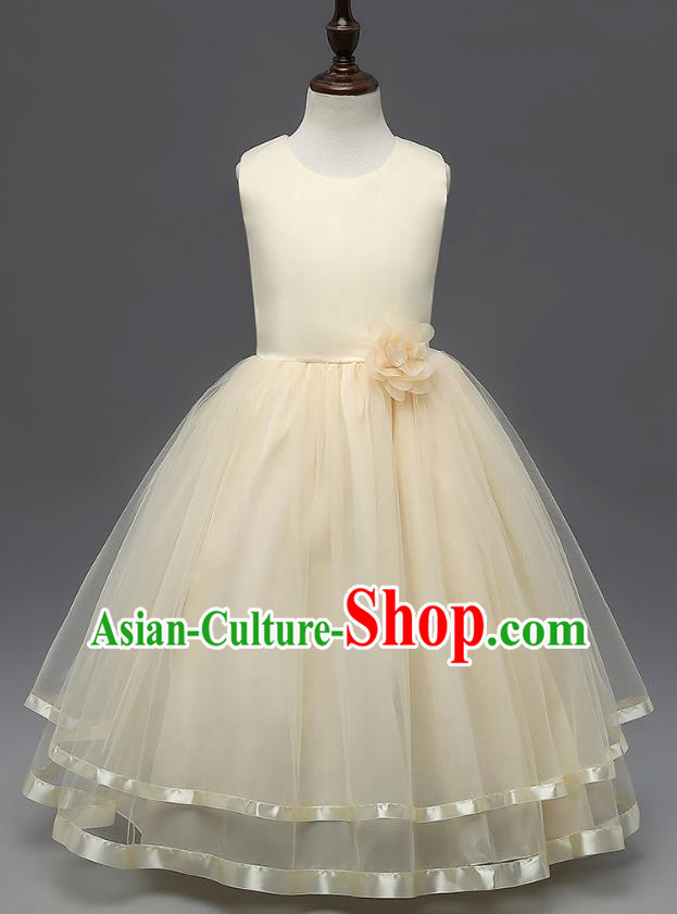 Top Grade Children Catwalks Costume Modern Dance Stage Performance Compere Champagne Full Dress for Kids