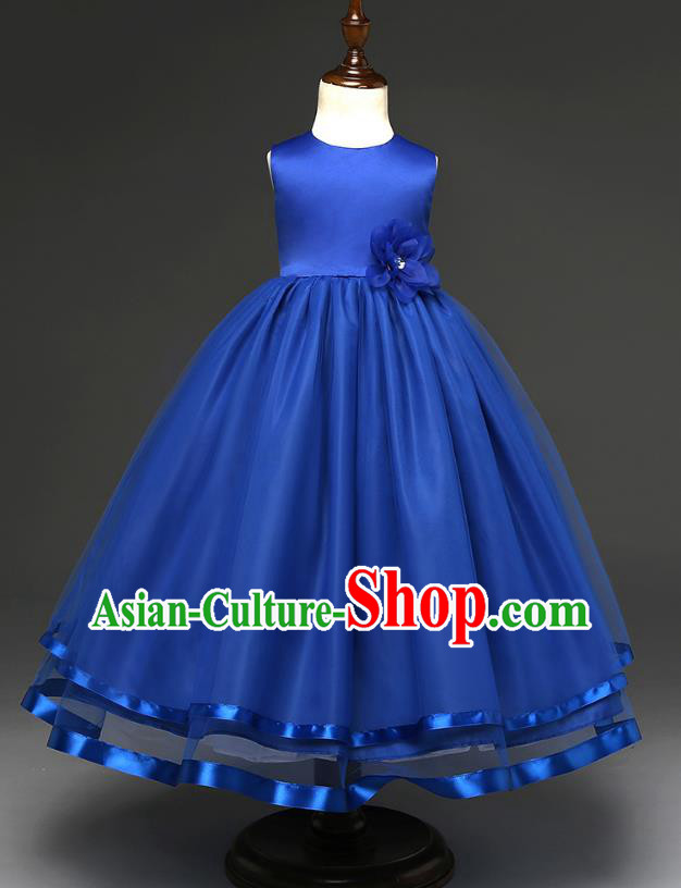 Top Grade Children Catwalks Costume Modern Dance Stage Performance Compere Royalblue Full Dress for Kids