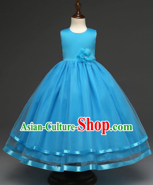 Top Grade Children Catwalks Costume Modern Dance Stage Performance Compere Blue Full Dress for Kids