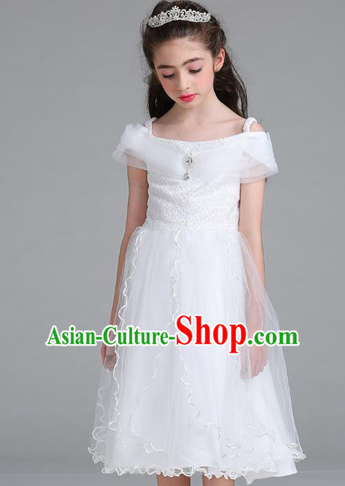 Children Models Show Compere Costume Stage Performance Catwalks White Full Dress for Kids