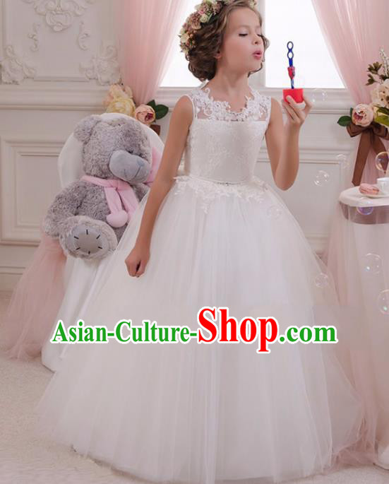 Children Models Show Compere Costume Stage Performance Catwalks White Lace Veil Full Dress for Kids