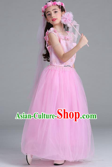 Children Models Show Compere Costume Stage Performance Catwalks Pink Lace Veil Full Dress for Kids