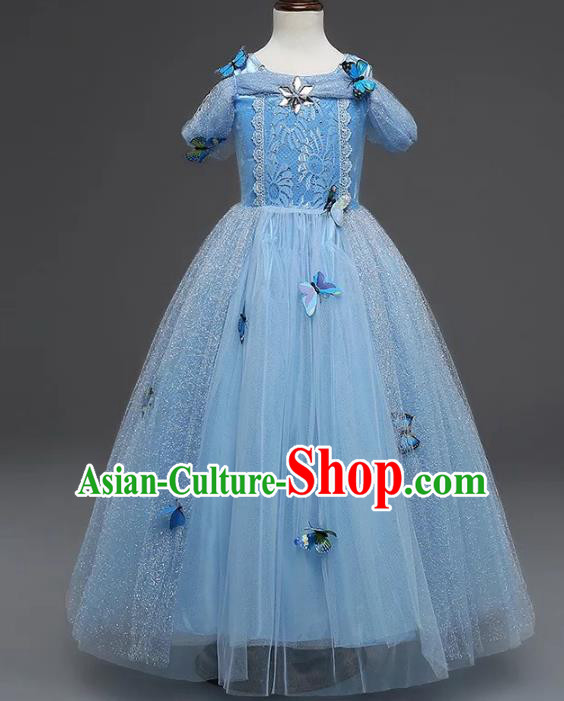 Children Models Show Compere Costume Stage Performance Girls Princess Blue Veil Full Dress for Kids