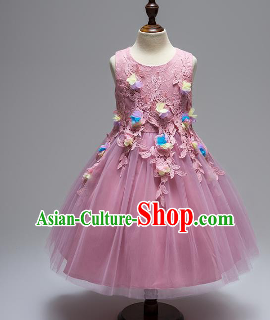 Children Models Show Compere Costume Stage Performance Girls Princess Purple Lace Dress for Kids