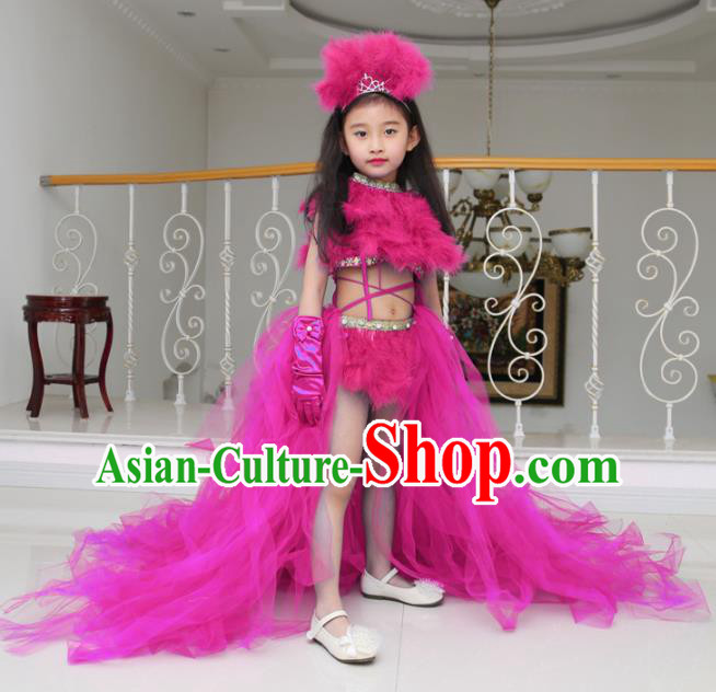Children Models Show Compere Costume Girls Princess Rosy Veil Mullet Dress Stage Performance Clothing for Kids