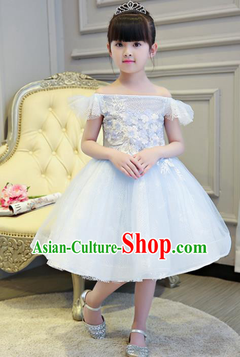 Children Models Show Compere Costume Girls Princess Blue Veil Full Dress Stage Performance Clothing for Kids