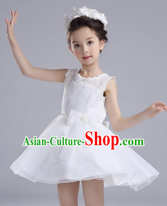 Children Models Show Costume Catwalks Stage Performance Dance White Dress for Kids