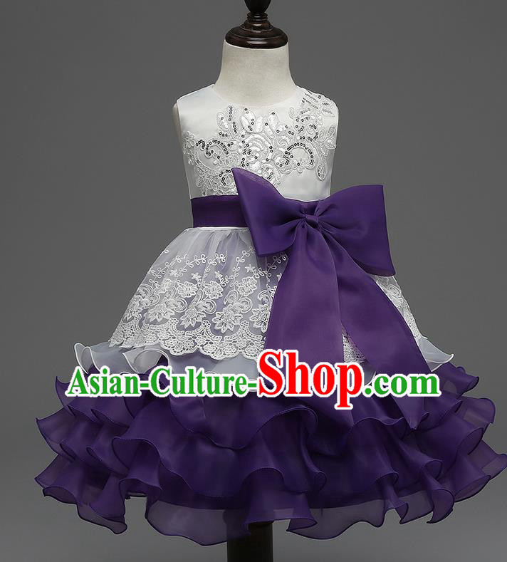 Children Flower Fairy Costume Modern Dance Stage Performance Catwalks Compere Purple Full Dress for Kids
