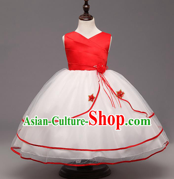 Children Flower Fairy Costume Compere Modern Dance Stage Performance Catwalks Red Dress for Kids
