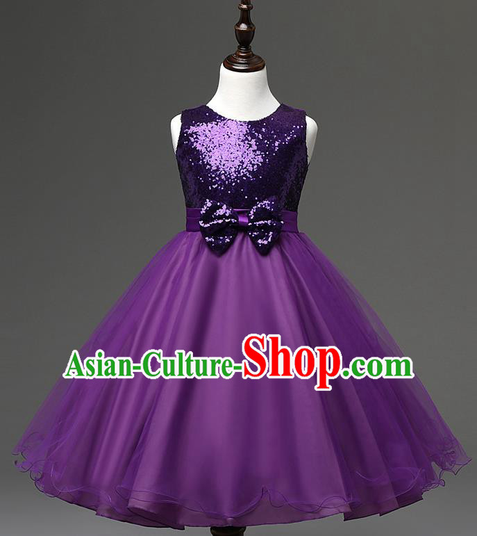 Children Modern Dance Compere Purple Full Dress Stage Performance Catwalks Costume for Kids