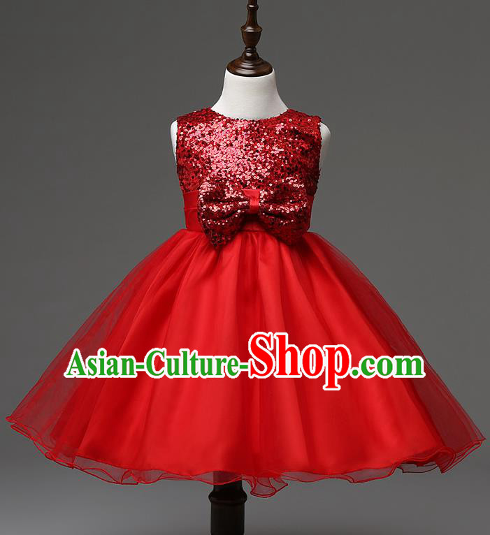 Children Modern Dance Compere Red Full Dress Stage Performance Catwalks Costume for Kids
