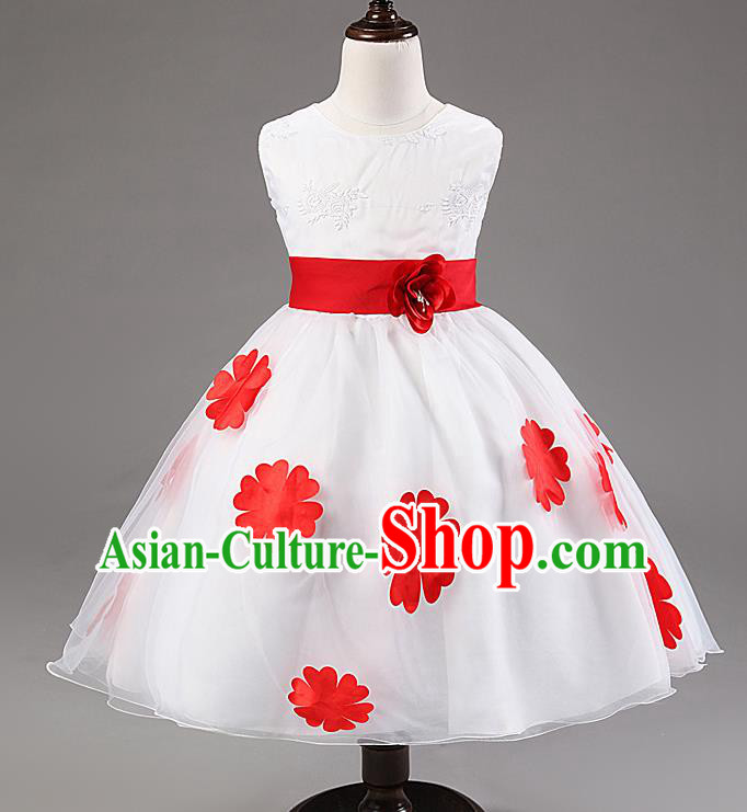 Children Modern Dance Compere Red Flowers Full Dress Stage Performance Catwalks Costume for Kids