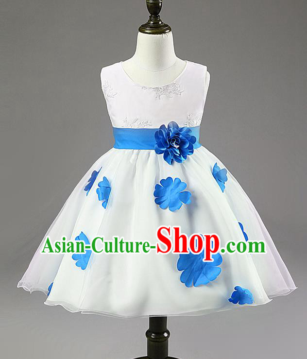 Children Modern Dance Compere Blue Flowers Full Dress Stage Performance Catwalks Costume for Kids