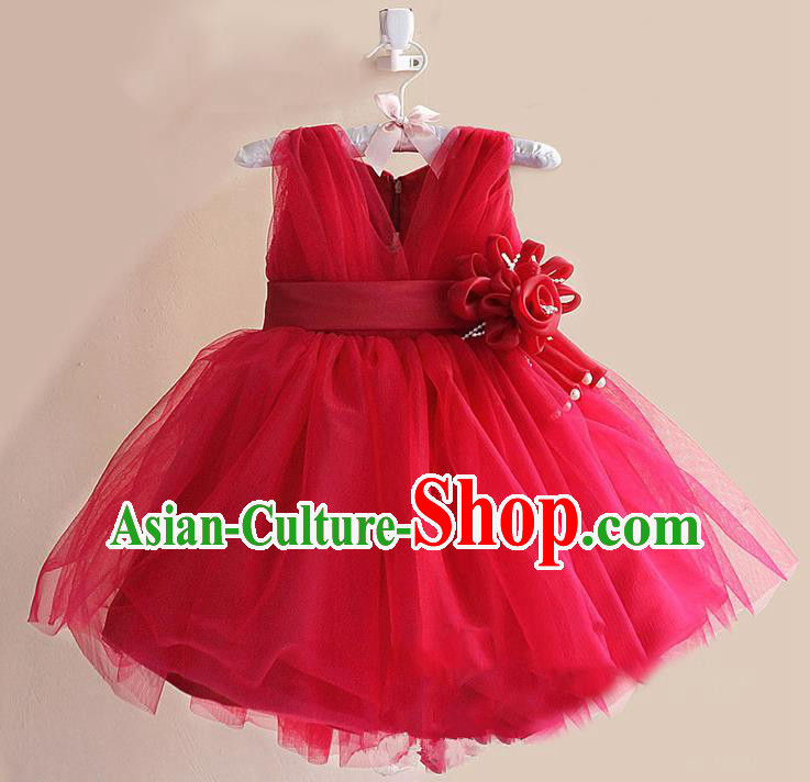 Children Modern Dance Red Flower Bubble Dress Stage Performance Compere Catwalks Costume for Kids