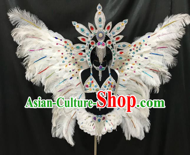 Children Catwalks Costume Brazilian Carnival Samba Dance White Feather Swimsuit and Butterfly Wings Headwear for Kids
