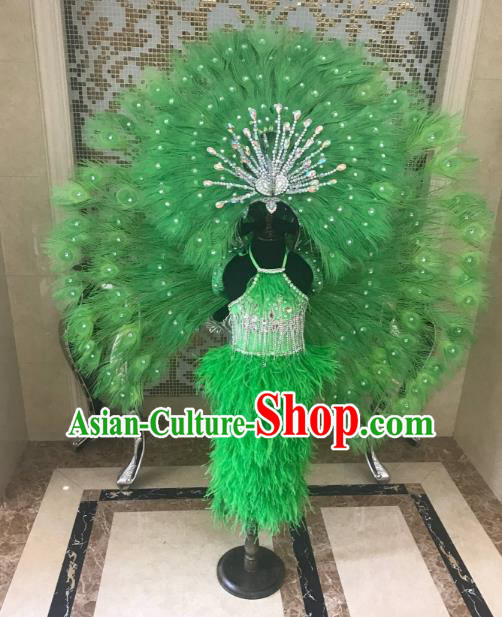 Children Catwalks Costume Brazilian Carnival Samba Dance Green Feather Swimsuit and Wings Headwear for Kids