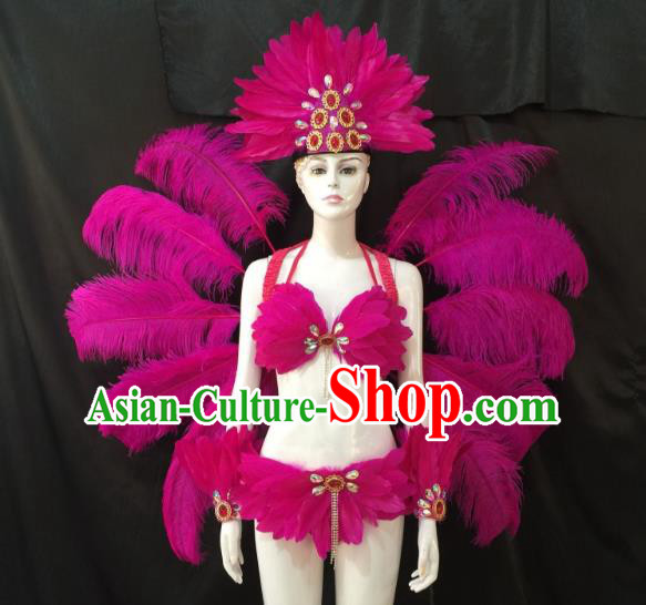 Top Grade Brazilian Carnival Samba Dance Costume Miami Catwalks Rosy Feather Swimsuit and Angel Wings for Women