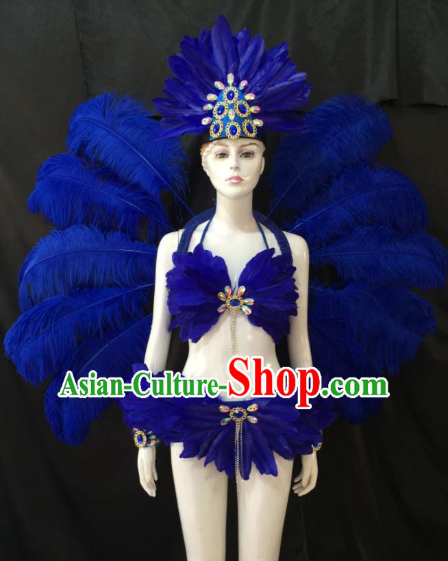 Top Grade Brazilian Carnival Samba Dance Costume Miami Catwalks Royalblue Feather Swimsuit and Angel Wings for Women