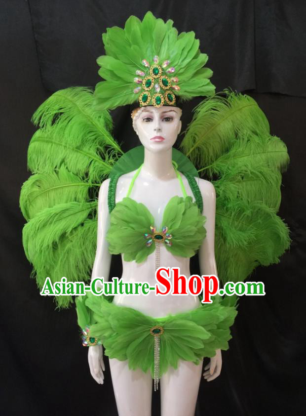 Top Grade Brazilian Carnival Samba Dance Costume Miami Catwalks Green Feather Swimsuit and Angel Wings for Women