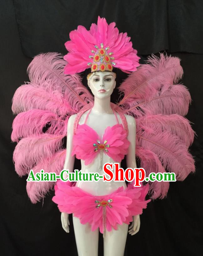 Top Grade Brazilian Carnival Samba Dance Costume Miami Catwalks Pink Feather Swimsuit and Angel Wings for Women