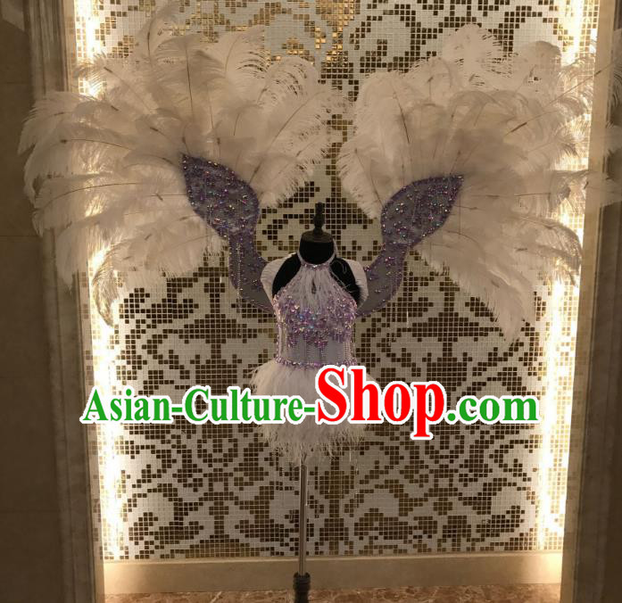 Top Grade Brazilian Carnival Samba Dance Costumes Halloween Miami Catwalks Feather Swimsuit and Wings for Kids