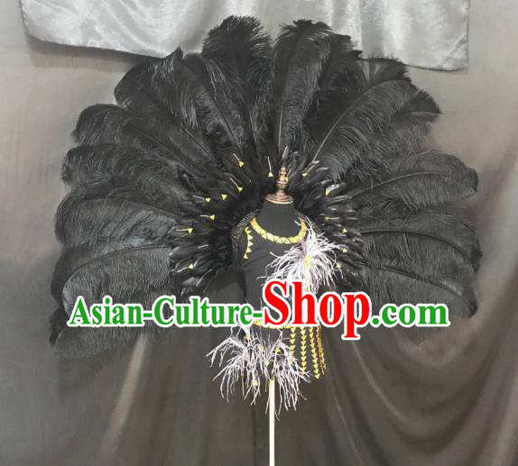 Top Grade Brazilian Carnival Costumes Halloween Catwalks Black Feather Swimsuit and Wings for Kids