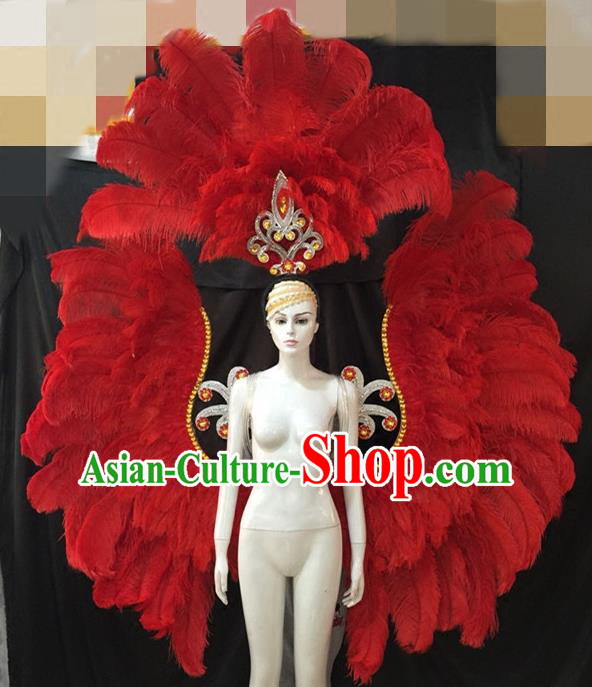 Top Grade Catwalks Props Brazilian Carnival Samba Dance Red Feather Wings and Headdress for Adults
