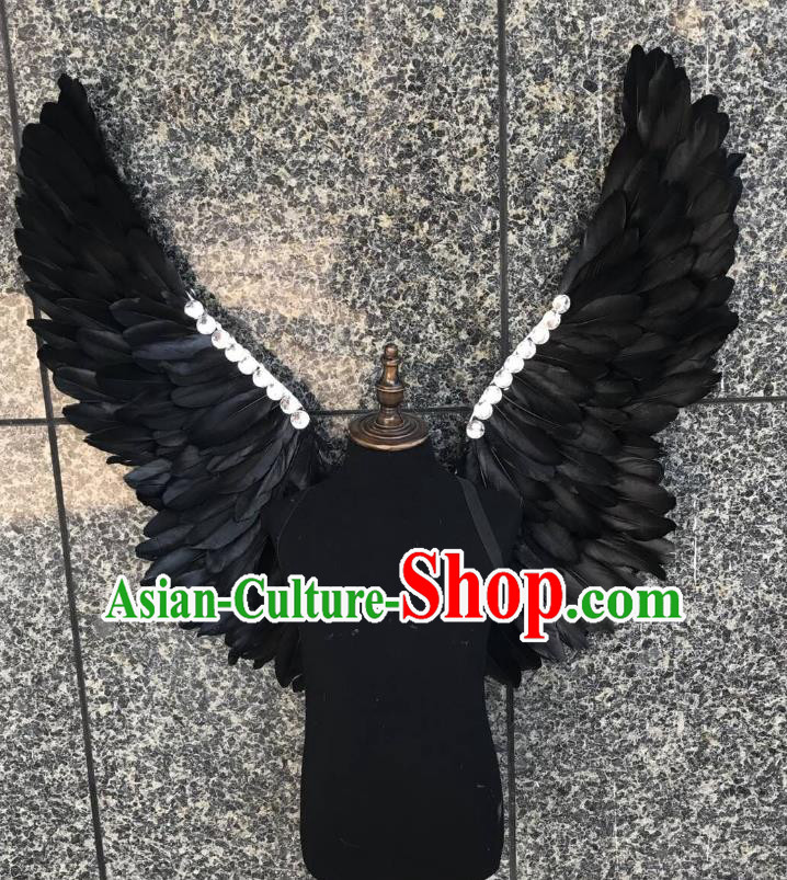 Top Grade Samba Dance Props Brazilian Carnival Catwalks Black Feather Butterfly Wings for Kids